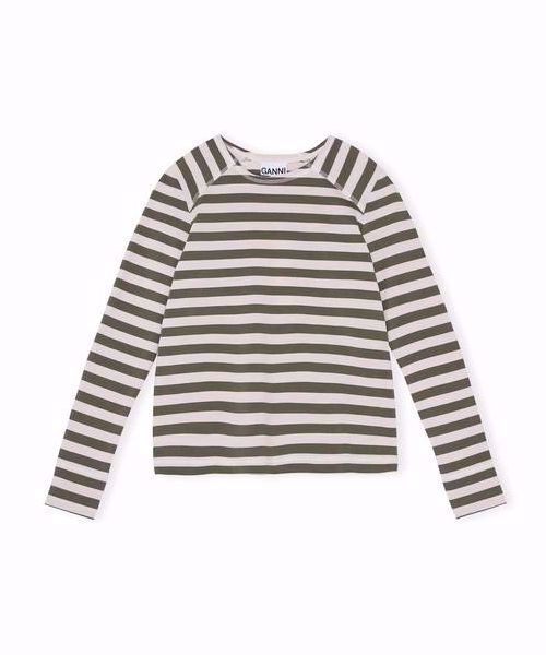 Ganni T-Shirt T2483 Striped Cotton Kalamata