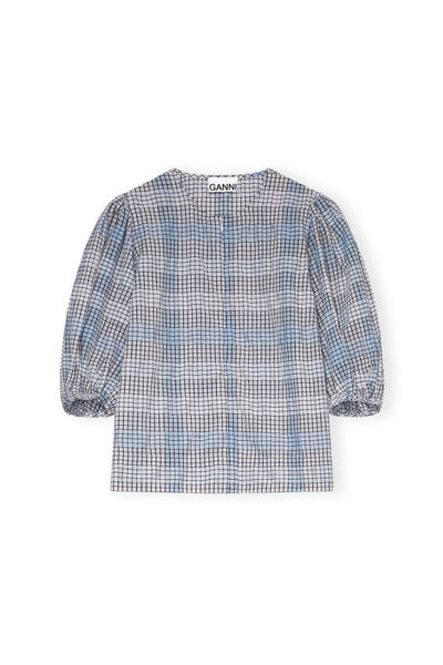 Ganni F5617 Seersucker check blouse