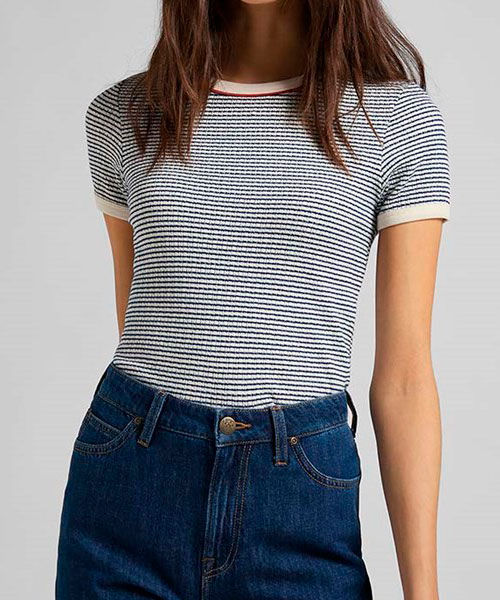 Lee striped ribbed tee blue